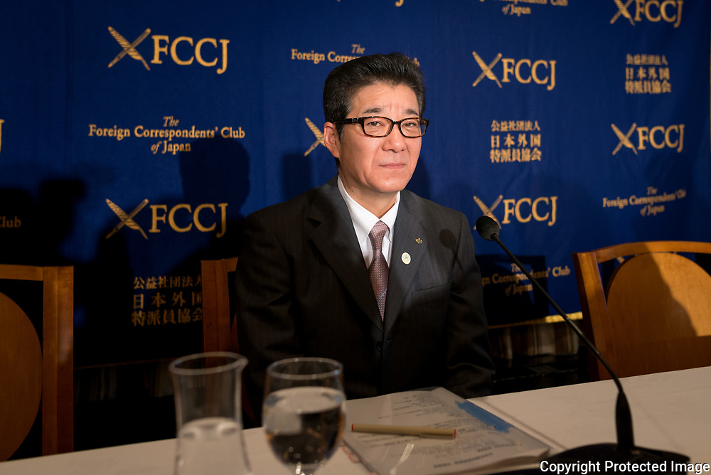 "Gov. Matsui, who is also leader of the political party Nippon Ishin no Kai during a press conference at The Foreign Correspondent Club Of Japan ( FCCJ ) on 14th of April. He is at the forefront of the 2025 Expo push. The central government is reportedly moving ahead with plans to nominate Osaka later this spring to host the 2025 World Expo. With Paris also bidding for the Expo, there are also worries about the competition. Under the theme of ""Designing Future Society for Our Lives,"" the Osaka Expo would feature artificial intelligence, virtual reality, and other leading-edge technologies. Backers say it would provide an additional economic lift after the 2020 Tokyo Olympics. 14/04/2017-Tokyo, JAPAN"