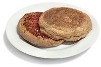 wheat english muffin with jam