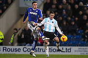 Chesterfield FC forward Lee Novak and Shrewsbury Town FC midfielder Ian Black challenge for the ball during the Sky Bet League 1 match between Chesterfield and Shrewsbury Town at the Proact stadium, Chesterfield, England on 2 January 2016. Photo by Aaron Lupton.