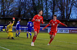 BANGOR, WALES - Tuesday, November 20, 2018: Wales' Lewis Collins (L) celebrates scoring the first goal with team-mate Jack Vale (R) during the UEFA Under-19 Championship 2019 Qualifying Group 4 match between Wales and San Marino at the Nantporth Stadium. (Pic by Paul Greenwood/Propaganda)