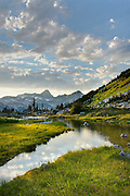 Stream flowing in an alpine basin of Mount Rohr, Coast Mountains British Columbia Canada beauty in nature