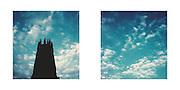 FRIBOURG, POLAROID DUO, CATHEDRALE ST. NICOLAS dans les nuages. Postcard   carte postale   Postkarte A 6 / A 5 (10.9 x 21 cm);  Fr. 3.50 © Romano P. Riedo