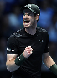 Andy Murray celebrates a point against Marin Cilic during day two of the Barclays ATP World Tour Finals at The O2, London.