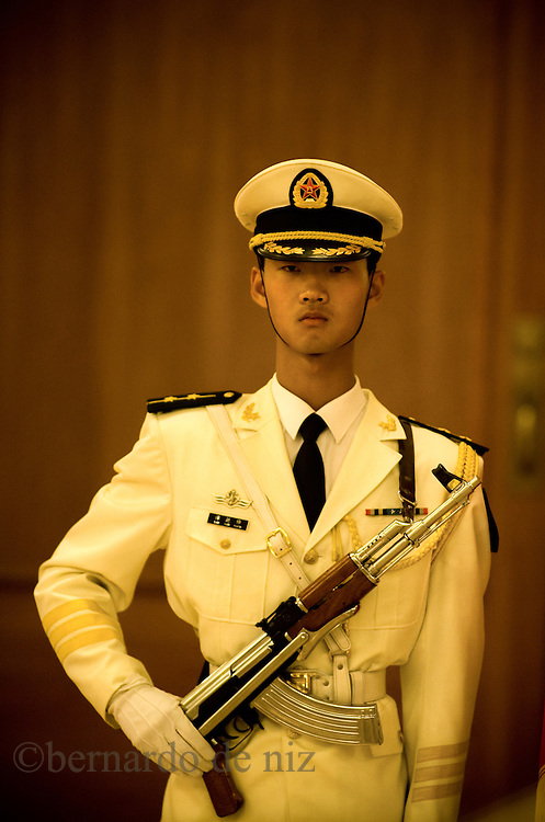 Member of the Chinese presidential guard, stands during an official event at the great hall of the people in Beijing, China