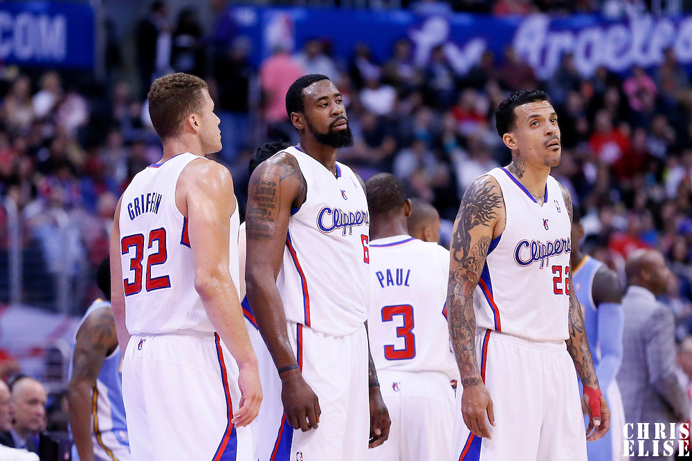15 April 2014: Los Angeles Clippers forward Blake Griffin (32), Los Angeles Clippers center DeAndre Jordan (6) and Los Angeles Clippers forward Matt Barnes (22) are seen during the Los Angeles Clippers 117-105 victory over the Denver Nuggets at the Staples Center, Los Angeles, California, USA.