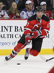 Feb 16; Newark, NJ, USA; New Jersey Devils left wing Ilya Kovalchuk (17) skates with the puck during the first period at the Prudential Center.