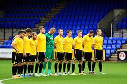 Bristol Rovers observe a minutes silence for Remembrance Day - Photo mandatory by-line: Neil Brookman/JMP - Mobile: 07966 386802 - 08/11/2014 - SPORT - Football - Birkenhead - Prenton Park - Tranmere Rovers v Bristol Rovers - FA Cup - Round One