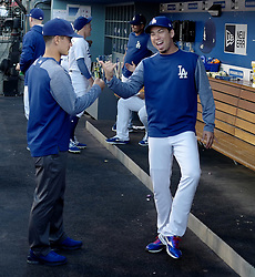 June 20, 2017 - Los Angeles, California, U.S. - Los Angeles Dodgers' Kenta Maeda prior to a Major League baseball game against the New York Mets at Dodger Stadium on Tuesday, June 20, 2017 in Los Angeles. (Photo by Keith Birmingham, Pasadena Star-News/SCNG) (Credit Image: © San Gabriel Valley Tribune via ZUMA Wire)