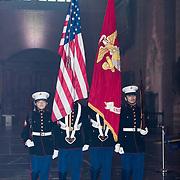 NLD/Leiden/20190404 - Margriet bij galadiner van 'The Netherlands America Foundation', Colour Guard. US Marines komen binnen met Nederlandse en Amerikaanse vlaggen.