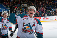 KELOWNA, CANADA - FEBRUARY 13: Gordie Ballhorn #4 of the Kelowna Rockets celebrates a goal against the Seattle Thunderbirds on February 13, 2017 at Prospera Place in Kelowna, British Columbia, Canada.  (Photo by Marissa Baecker/Shoot the Breeze)  *** Local Caption ***