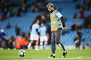 Manchester City forward Sergio Aguero (10) warming up during the Champions League match between Manchester City and Dinamo Zagreb at the Etihad Stadium, Manchester, England on 1 October 2019.