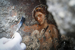 November 19, 2018 - Pompeii, Italy,  - An archaeologist works on a recently discovered fresco of Leda and the swan in the Regio V archaeological area in Pompeii. (Credit Image: © Sp/Ropi via ZUMA Press)