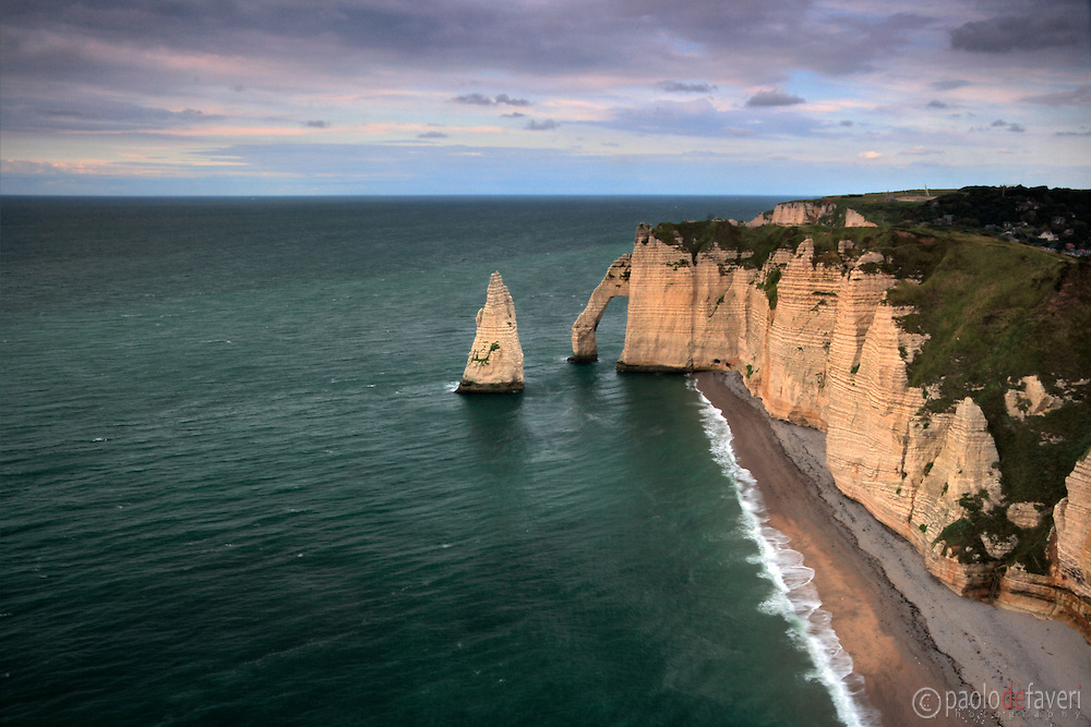 A moody representation of the cliff known as La Falaise d'Aval, which is part of the amazing rocky coast around Etretat in Upper Normandy, France, altogether known as Les Failases d'Etretat..