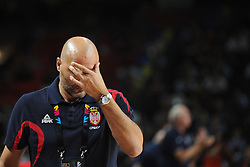 Sasha Djordjevic, head coach of Serbia during the 2014 FIBA World Basketball Championship Final match between USA and Serbia at the Palacio de los Deportes, on September 14, 2014 in Madrid, Spain. Photo by Tom Luksys  / Sportida.com <br /> ONLY FOR Slovenia, France