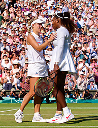 LONDON, ENGLAND - Saturday, July 14, 2018: Angelique Kerber (GER) embraces Serena Williams (USA) as she celebrates winning the Ladies' Singles Final match 6-3, 6-3 on day twelve of the Wimbledon Lawn Tennis Championships at the All England Lawn Tennis and Croquet Club. (Pic by Kirsten Holst/Propaganda)