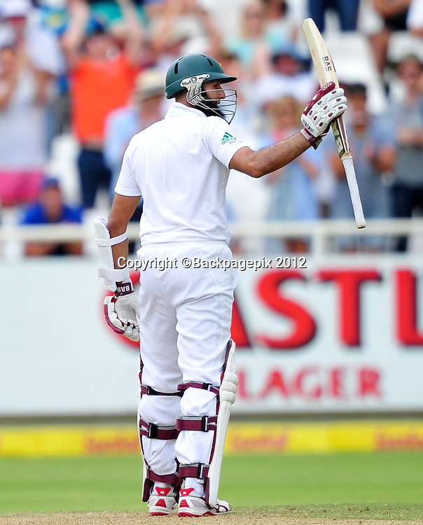 Hashim Amla of South Africa raises his bat after going to his 50 during day 2 of the Sunfoil Test Series 2014/15 game between South Africa and the West Indies at Newlands Stadium, Cape Town on 3 January 2015 ©Ryan Wilkisky/BackpagePix