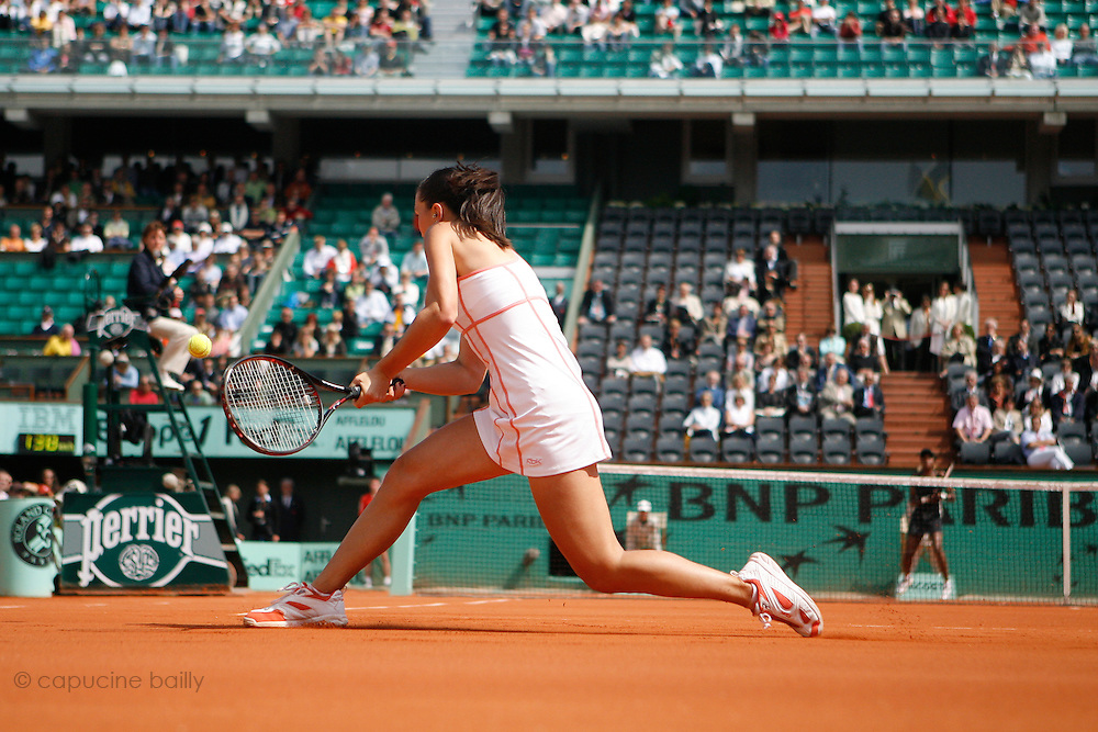Roland Garros. Paris, France. June 1st 2007..3rd Round..Jelena JANKOVIC against Venus WILLIAMS.
