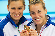 CAGNOTTO Tania DALLAPE' Francesca ITA gold medal<br /> London, Queen Elizabeth II Olympic Park Pool <br /> LEN 2016 European Aquatics Elite Championships <br /> Diving<br /> Women's 3m synchronised springboard final <br /> Day 07 15-05-2016<br /> Photo Giorgio Perottino/Deepbluemedia/Insidefoto