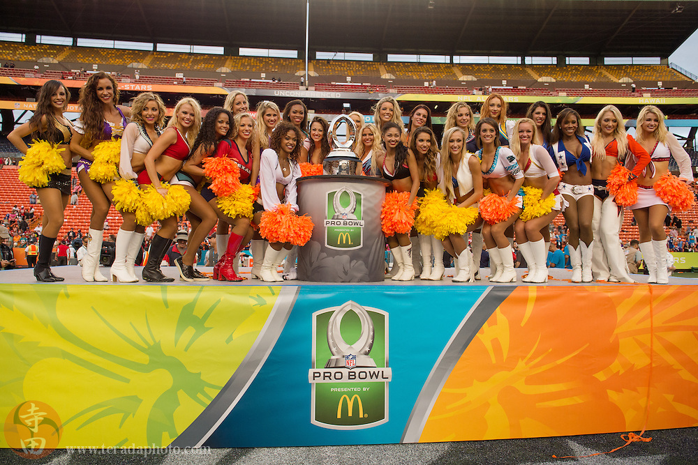January 26, 2014; Honolulu, HI, USA; NFL Pro Bowl cheerleaders pose for a photo after the 2014 Pro Bowl game at Aloha Stadium. Team Rice defeated Team Sanders 22-21.