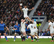 Twickenham, Great Britain, Courtney LAWES redirecting the line out ball during the Six Nations Rugby England vs France, played at the RFU Stadium, Twickenham, ENGLAND. <br /> <br /> Saturday   21/03/2015<br /> <br /> [Mandatory Credit; Peter Spurrier/Intersport-images]