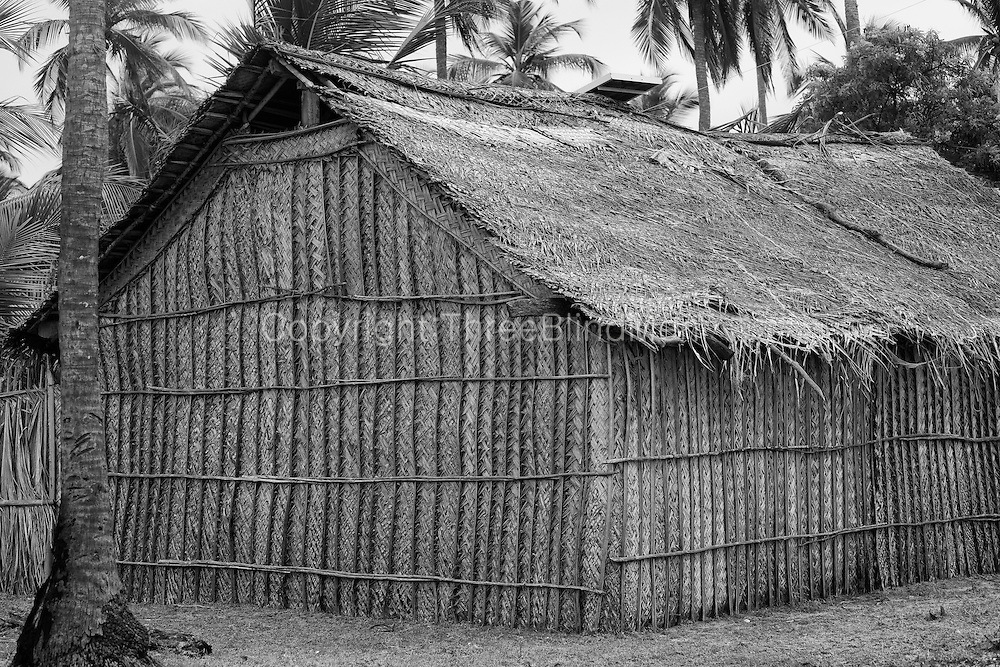 Cadjan (thatch) homes on the sand bar North of Kalpitiya.