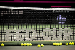 November 8, 2018 - Prague, Czech Republic - Features with balls and net of the 2018 Fed Cup Final between the Czech Republic and the United States of America in Prague in the Czech Republic. The Czech Republic will face United States in the Tennis Fed Cup World Group on 10 and 11 November 2018. (Credit Image: © Slavek Ruta/ZUMA Wire)