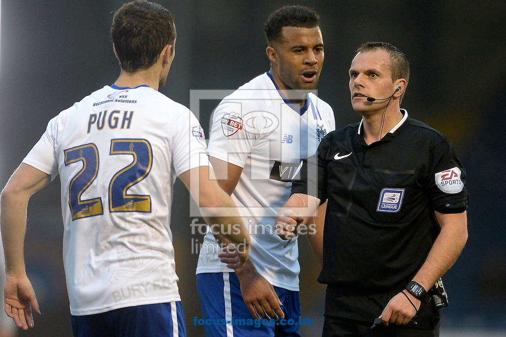 Danny Pugh of Bury (left) complains to the referee during the Sky Bet League 1 match at Gigg Lane, Bury<br /> Picture by Ian Wadkins/Focus Images Ltd +44 7877 568959<br /> 31/10/2015