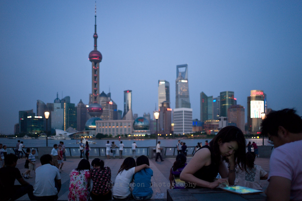 View of the Pudong skyline from the Bund, Shanghai, China.