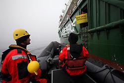 LABRADOR SEA 16JUN11 - Boat training from aboard the Greenpeace ship Esperanza in the Davis Stait off the coast of Greenland...Photo by Jiri Rezac / Greenpeace