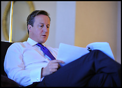 British Prime Minister David Cameron in the green room before delivering his speech to delegates on the last day of the Conservative party conference, International Convention Centre, October 10, 2012, Birmingham, England. Photo by Andrew Parsons / i-Images...
