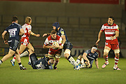 Sale's J Strauss stopping an advance during the Aviva Premiership match between Sale Sharks and Gloucester Rugby at the AJ Bell Stadium, Eccles, United Kingdom on 29 September 2017. Photo by George Franks.