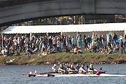 Boston, USA, Master Men's Fours,  Crews passing under the John Weeks Bridge during the Head of the Charles, Race Charles River,  Cambridge,  Massachusetts. Saturday  20/10/2007 [Mandatory Credit Peter Spurrier/Intersport Images]..... , Rowing Course; Charles River. Boston. USA