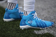 Buffalo Bills outside linebacker Lorenzo Alexander (57) sports Aces Foundation cleats during the 2017 NFL week 13 regular season football game against the New England Patriots, Sunday, Dec. 3, 2017 in Orchard Park, N.Y. The Patriots won the game 23-3. (©Paul Anthony Spinelli)