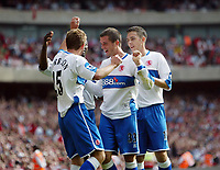 Photo: Chris Ratcliffe.<br />Arsenal v Middlesbrough. The Barclays Premiership. 09/09/2006.<br />James Morrison of Middlesbrough celebrates scoring the first Middlesbrough goal with Stuart Downing (far right) and Andrew Taylor (2nd right).