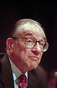 Federal Reserve Chairman Alan Greenspan testifies in the Senate Budget Committee September 23, 1998 in Washington, DC. Greenspan said that global financial turmoil would be more than enough to curb U.S. inflation, a signal he may push for an interest rate cut as early as next week.