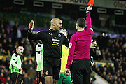 Wolverhampton Wanderers goalkeeper Carl Ikeme (1) gets a red card during the EFL Sky Bet Championship match between Norwich City and Wolverhampton Wanderers at Carrow Road, Norwich, England on 21 January 2017. Photo by Nigel Cole.