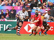 Fijian player Isake Katonibau scores a try during the game Fiji vs Russia during the Cathay Pacific/HSBC Hong Kong Sevens festival at the Hong Kong Stadium, So Kon Po, Hong Kong. on 7/04/2018. Picture by Ian  Muir.
