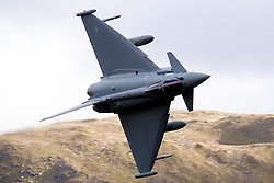 Royal Air Force Eurofighter Typhoon FGR4 (ZK371) flies low level through the Mach Loop, Machynlleth, Wales, United Kingdom