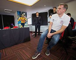 LIVERPOOL, ENGLAND - Thursday, March 12, 2015: Liverpool's Jamie Carragher at the press conference to announce plans for an All-Star Charity friendly match to be played at Anfield on Sunday March 29th in aid of the Liverpool FC Foundation. (Pic by Paul Currie/Propaganda)