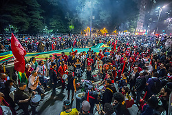 July 20, 2017 - Sao Paulo, Sao Paulo, Brazil - Demontrators take part in a protest against president Michel Temer government's labor and security reforms and against the prosecution of former president Luiz Inacio Lula da Silva in Sao Paulo, Brazil, on July 20, 2017. Brazilian judge Sergio Moro, who leads an anti-corruption probe, has ordered Lula's assets frozen -which he put the value in property and bank accounts as $4.3 million- after last week convicting and sentencing him to prison for graft. (Credit Image: © Cris Faga/NurPhoto via ZUMA Press)