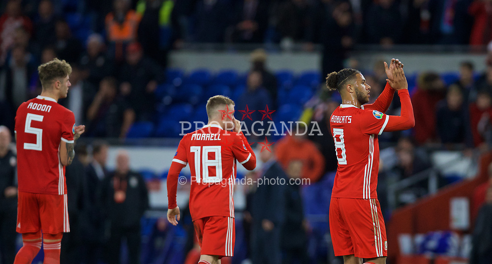 CARDIFF, WALES - Sunday, October 13, 2019: Wales' Tyler Roberts (R) applauds the supporters after the UEFA Euro 2020 Qualifying Group E match between Wales and Croatia at the Cardiff City Stadium. (Pic by Laura Malkin/Propaganda)