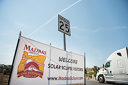 A welcome sign is seen along the roads in Madras, Oregon, where thousands of visitors are expected for the total solar eclipse, Saturday, Aug. 19, 2017. The eclipse will be sweeping across a narrow portion of the contiguous United States from Lincoln Beach, Oregon to Charleston, South Carolina on August 21, 2017. A partial solar eclipse ill be visible across the entire North American continent along with parts of South America, Africa, and Europe.  Photo Credit: (NASA/Aubrey Gemignani)