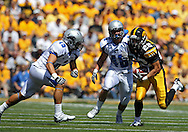 September 4 2010: Iowa Hawkeyes wide receiver Colin Sandeman (22) tries to avoid Eastern Illinois Panthers safety Nick Martinez (19) and Eastern Illinois Panthers linebacker Gordy Kickels (46) during the third quarter of the NCAA football game between the Eastern Illinois Panthers and the Iowa Hawkeyes at Kinnick Stadium in Iowa City, Iowa on Saturday September 4, 2010. Iowa defeated Eastern Illinois 37-7.