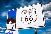 Historic US Route 66 sign, Seligman, Arizona USA