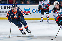 KELOWNA, BC - JANUARY 11: Orrin Centazzo #19 of the Kamloops Blazers skates for the puck during first period against the Kelowna Rockets at Prospera Place on January 11, 2020 in Kelowna, Canada. (Photo by Marissa Baecker/Shoot the Breeze)