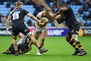 Exeter Chiefs hooker Luke Cowan-Dickie  is double tackled during the Aviva Premiership match between Wasps and Exeter Chiefs at the Ricoh Arena, Coventry, England on 18 February 2018. Picture by Dennis Goodwin.