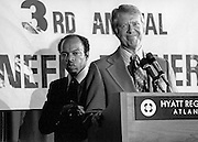 President Jimmy Carter at an Atlanta civil rights conference in 1977 with John Lewis, a former top lieutenant to Dr. Martin Luther King, Jr. who would later be elected to the U.S. Congress.<br />