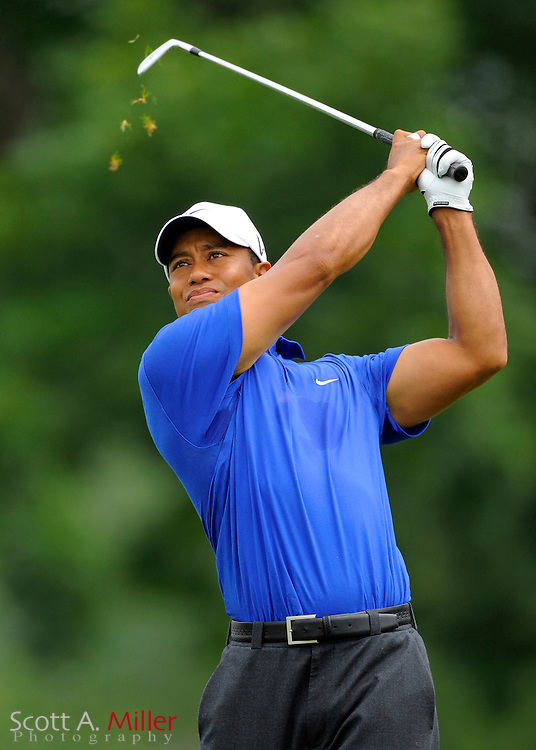 Aug 15, 2009; Chaska, MN, USA; Tiger Woods (USA) hits a tee shot during the third round of the 2009 PGA Championship at Hazeltine National Golf Club.  ©2009 Scott A. Miller