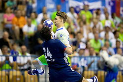 Elohim Prandi of France during handball match between National teams of France and Slovenia in Final of 2018 EHF U20 Men's European Championship, on July 29, 2018 in Arena Zlatorog, Celje, Slovenia. Photo by Urban Urbanc / Sportida