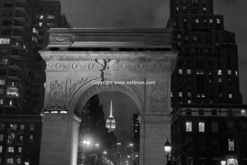 New York , Washington square, park garden at night